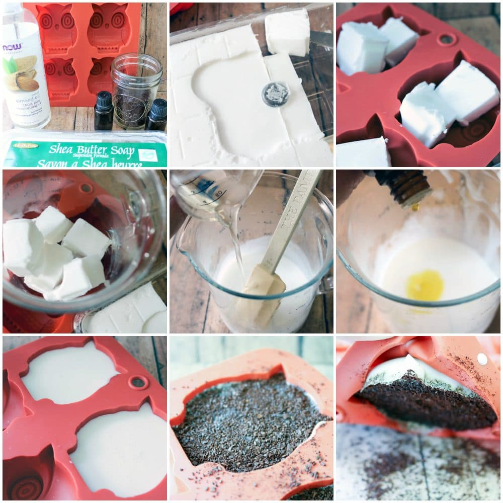 Exfoliating Coffee Soap Recipe with Cardamom and Lime in process photos