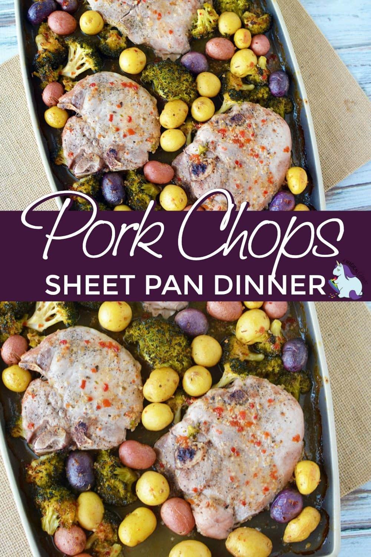 Sheet pan pork chops dinner
