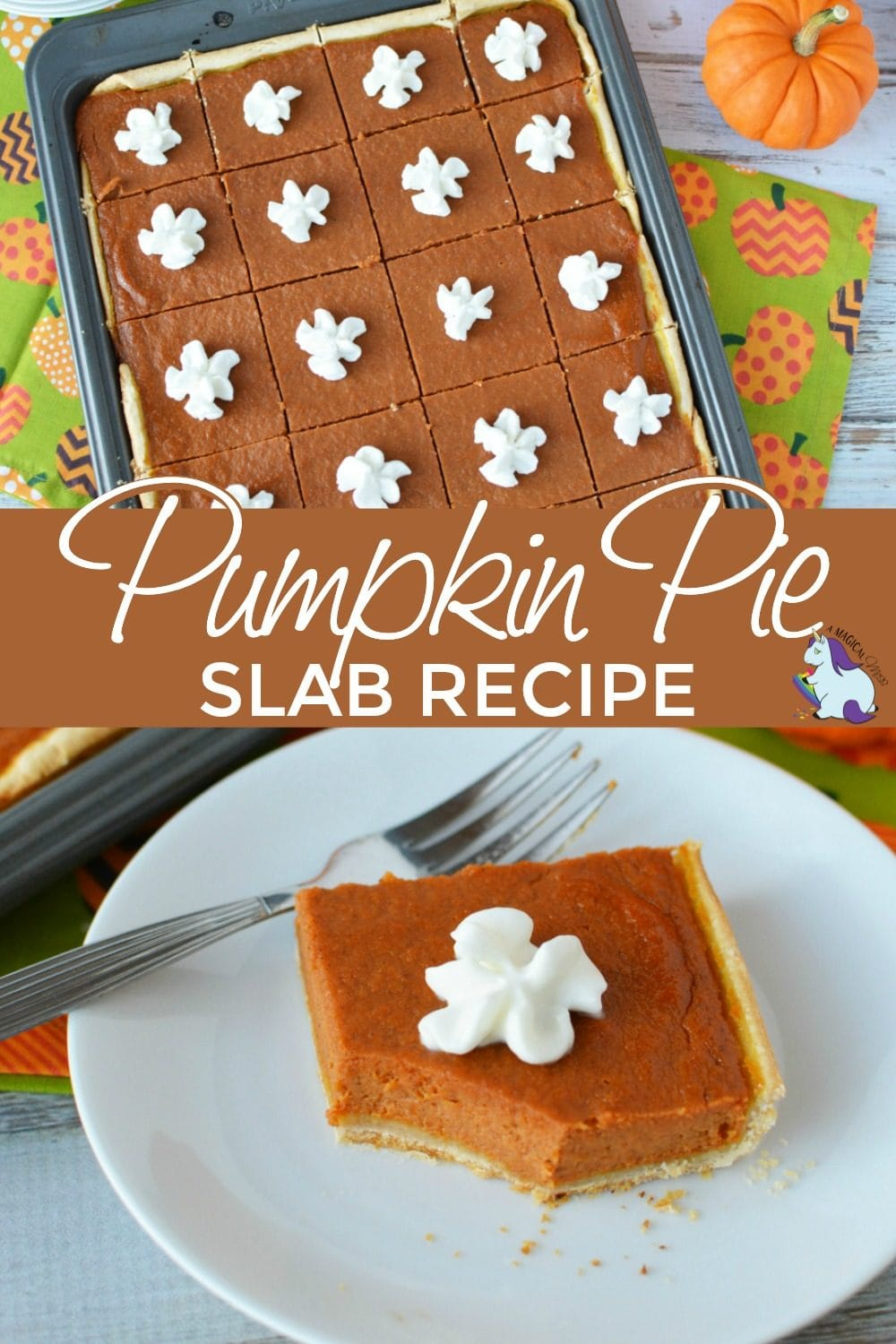 Pumpkin pie slices on a try and one with a bite taken out.