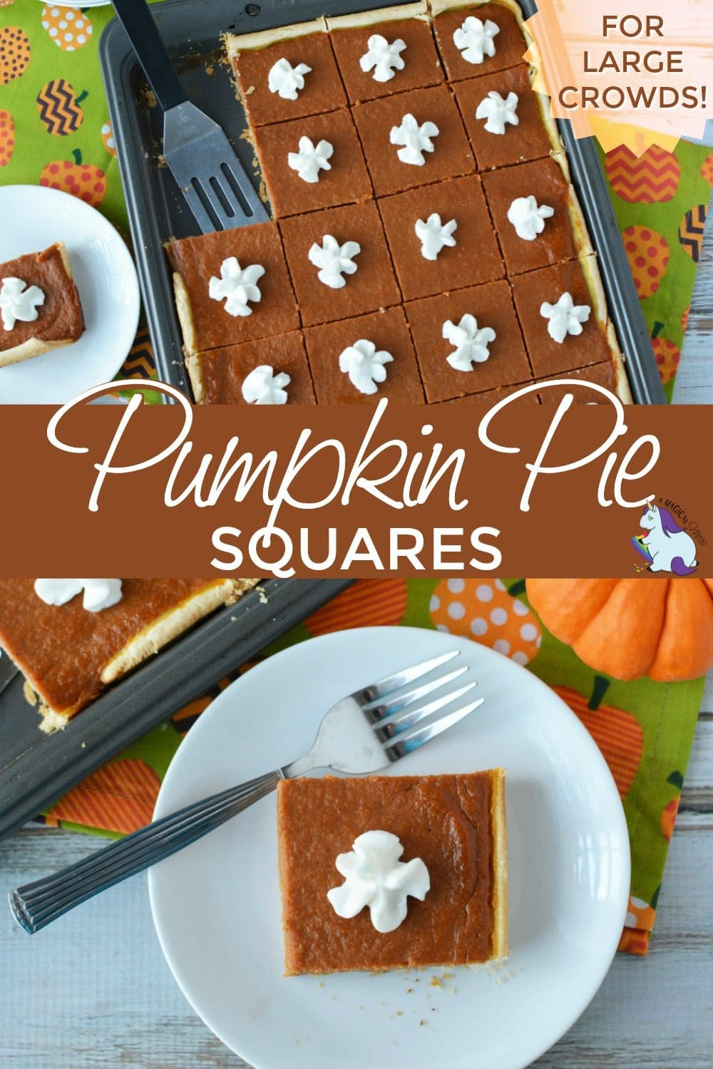 Pumpkin slab slices on a baking sheet and on a plate.