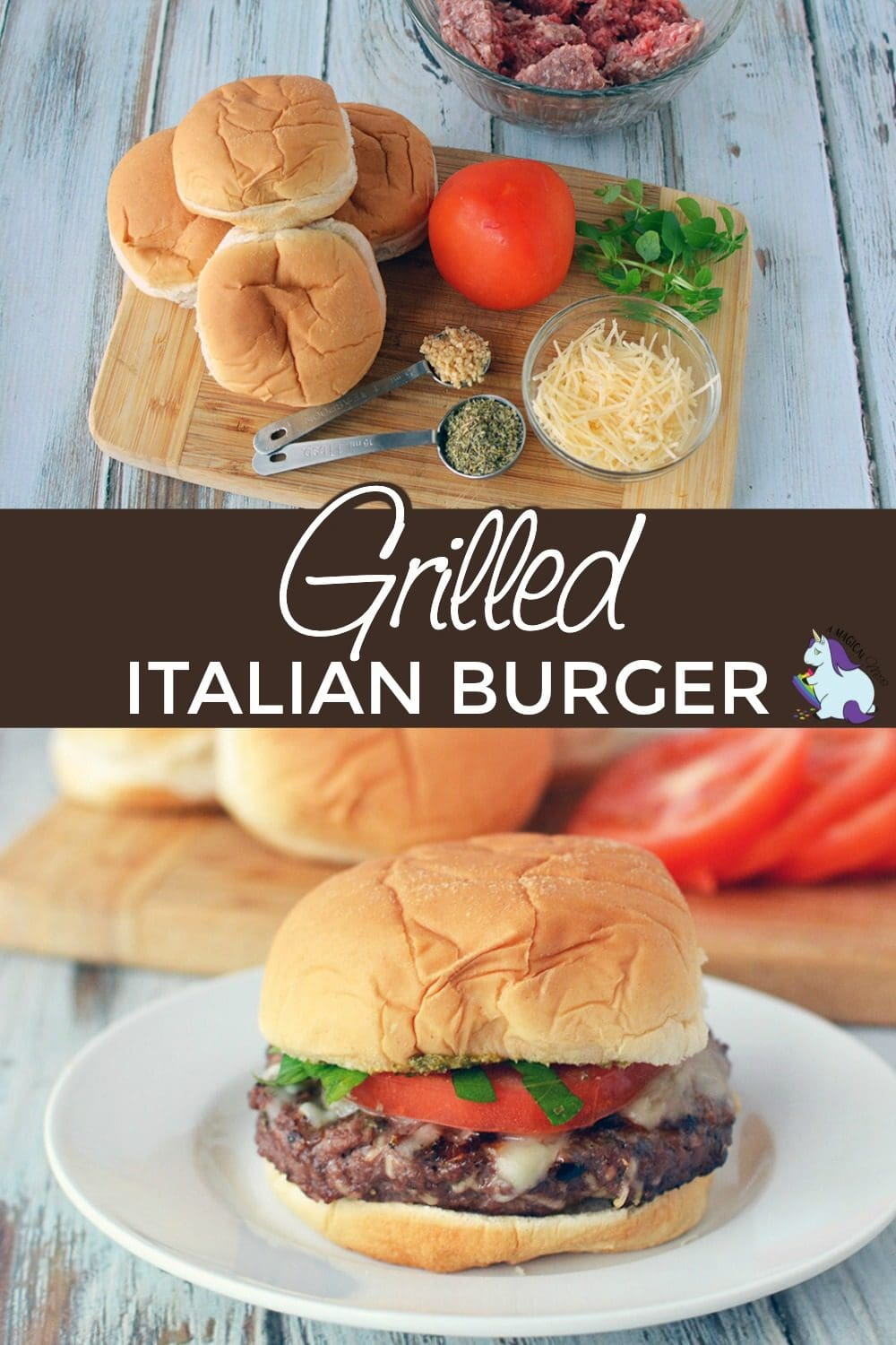 Burger ingredients and complete burger with toppings