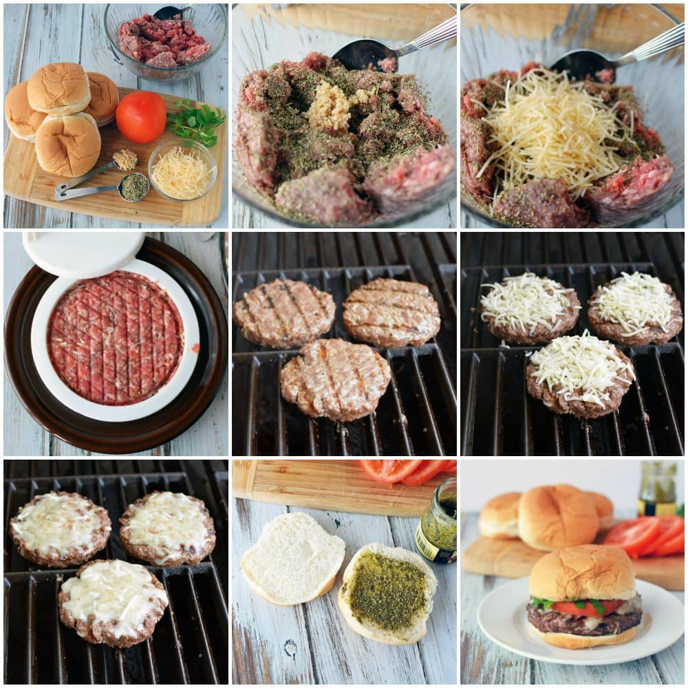Grilled burger with Italian flavors
