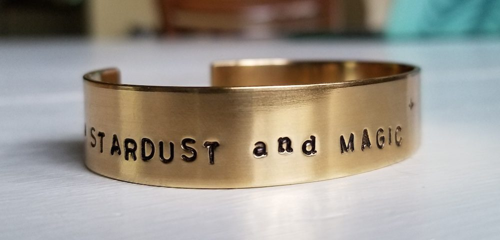 Customizable metal cuff bracelet - We are Stardust and Magic