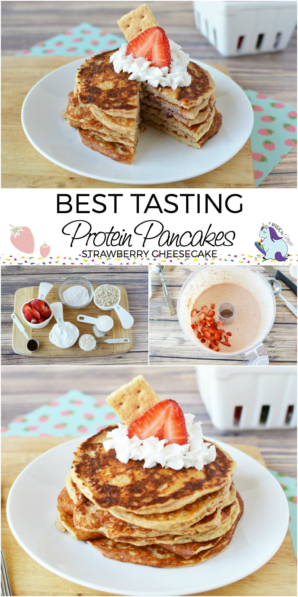 Awesome protein pancake recipe to make in bulk and freeze for the mornings! #ProteinPancakes #Recipes #breakfast #protein #pancakes #strawberry #cheesecakes