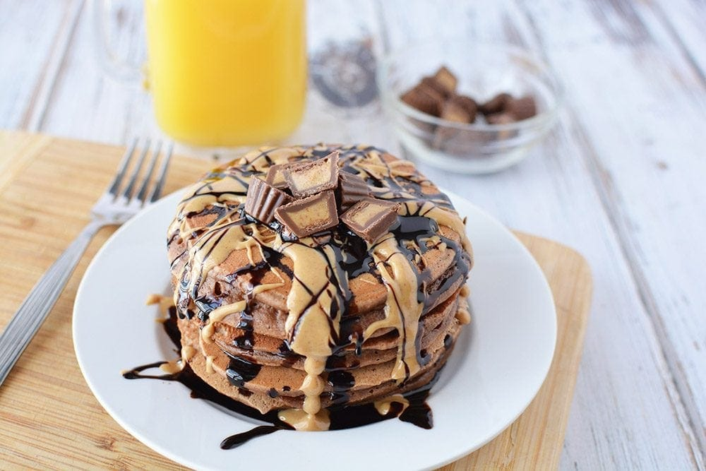 Bisquick chocolate and peanut butter pancakes