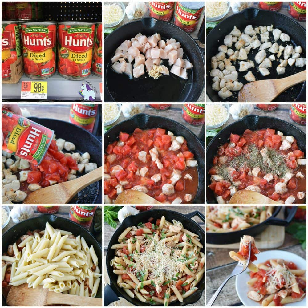 Easy chicken pasta in a skillet