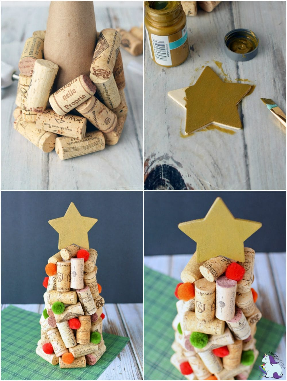 DIY Wine Cork Christmas Trees Craft