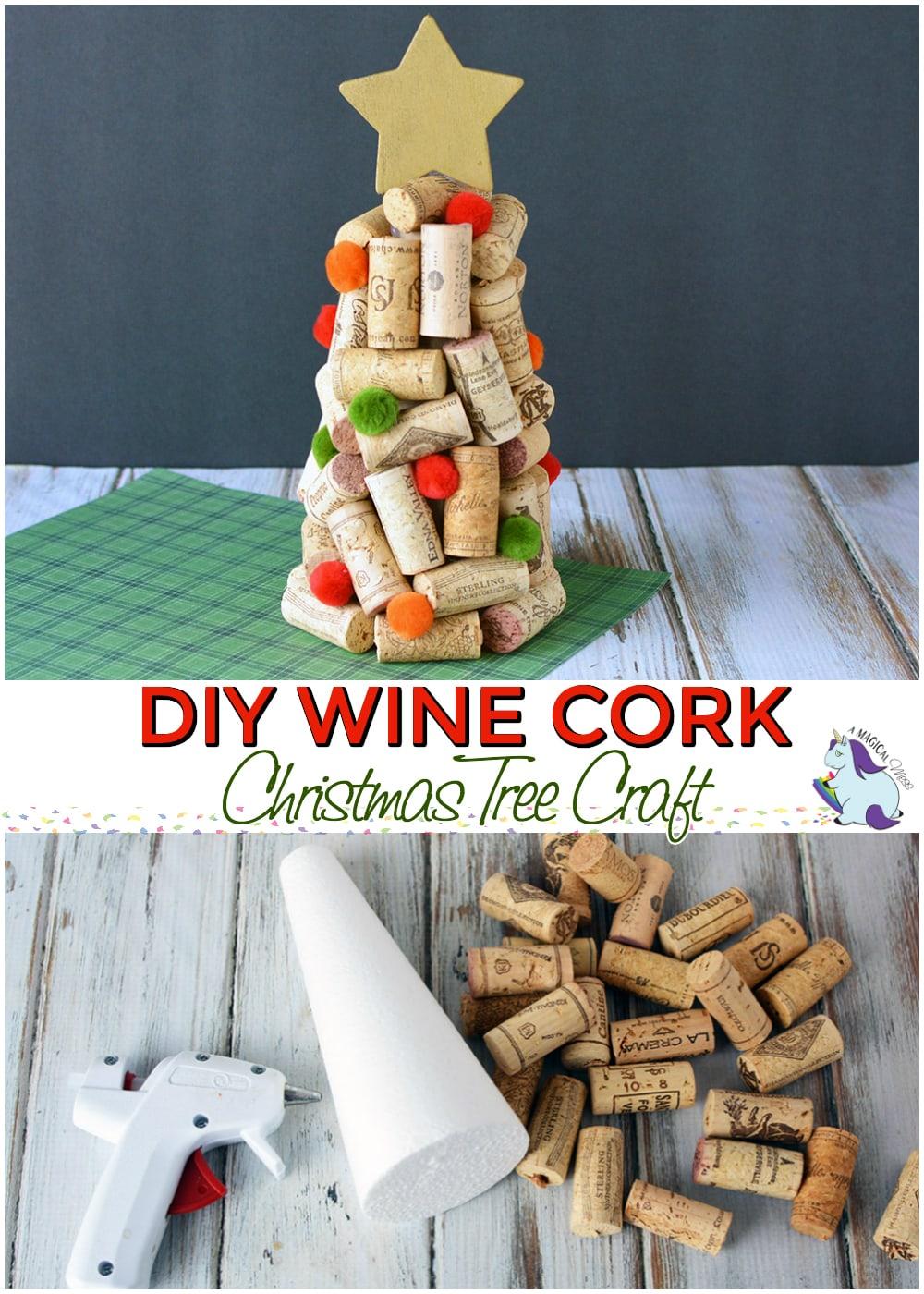 DIY Wine Cork Christmas Trees Craft #diy #crafts #holiday #homemadegifts #winecorks