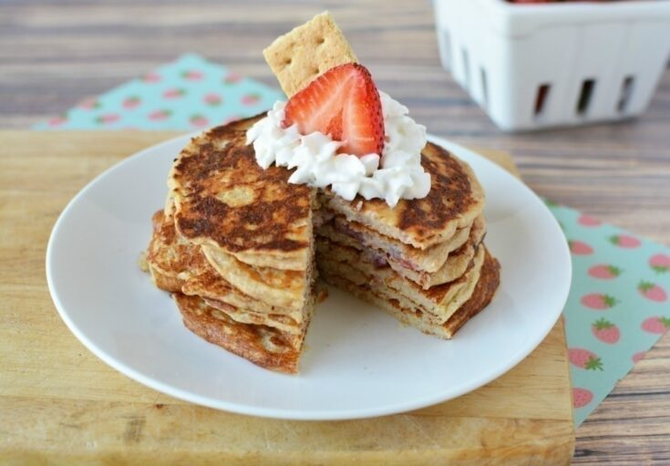 Best Tasting Protein Pancakes - Strawberry Cheesecake