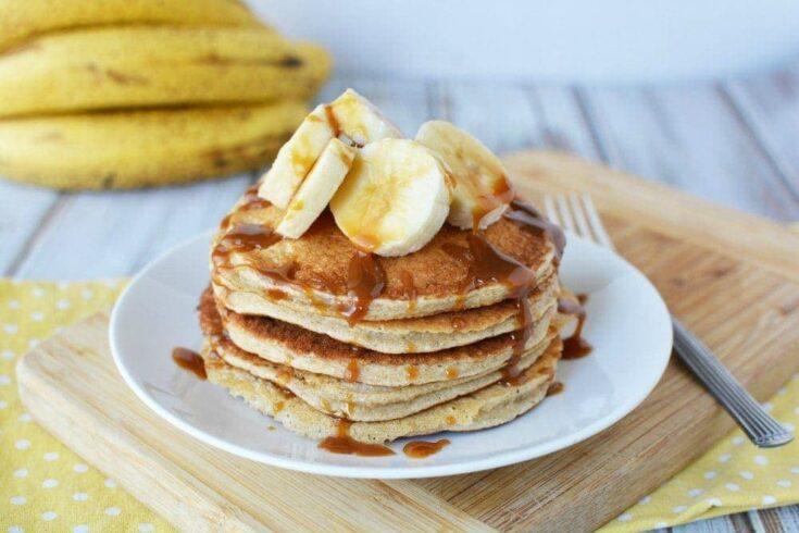 Caramel Banana Protein Pancakes