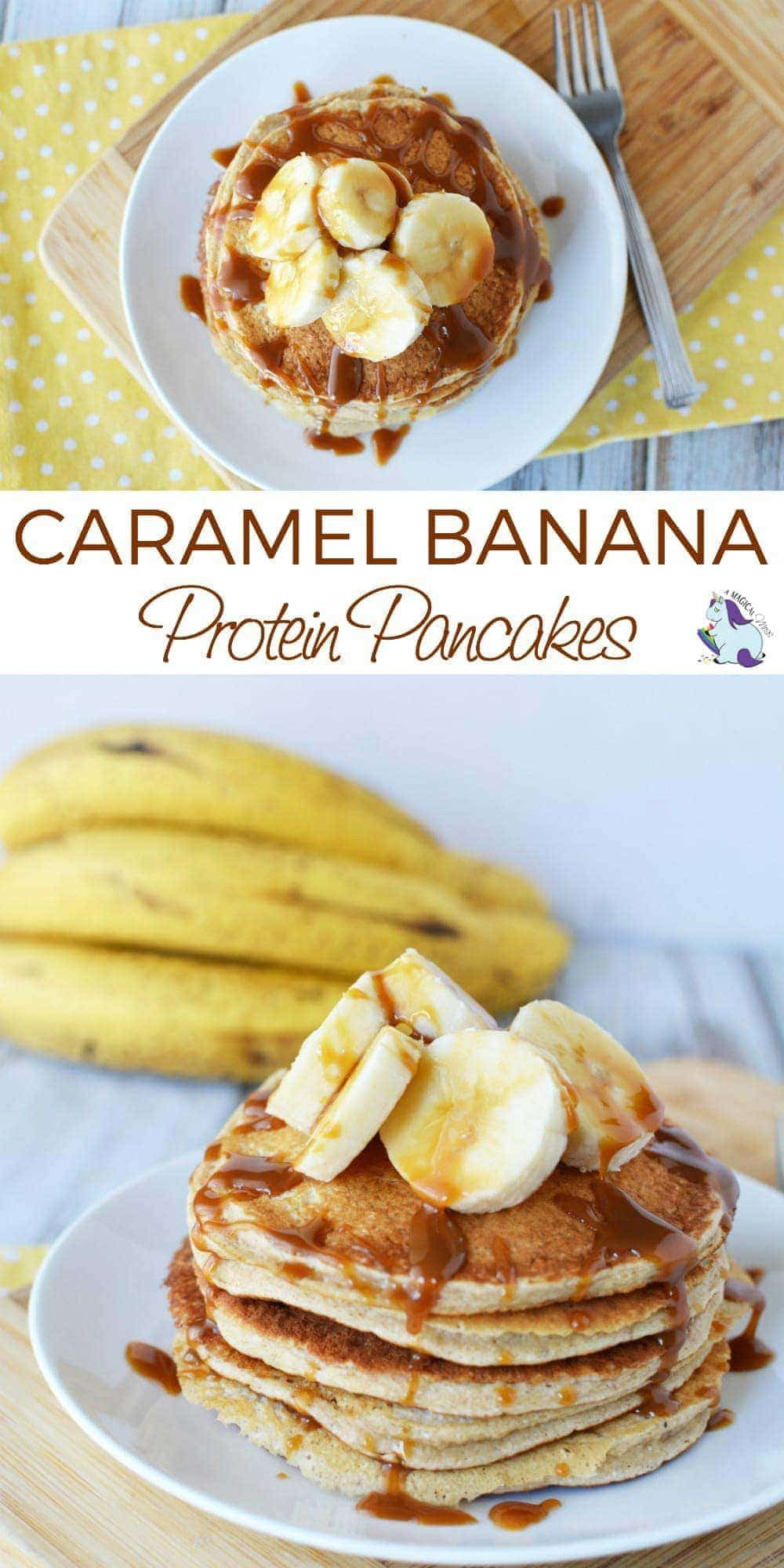 Mouth Watering Caramel Banana Protein Pancake Recipe - These look like a cheat meal... could this be real life? #ProteinPancakes #Recipes #breakfast #pancakes #banana