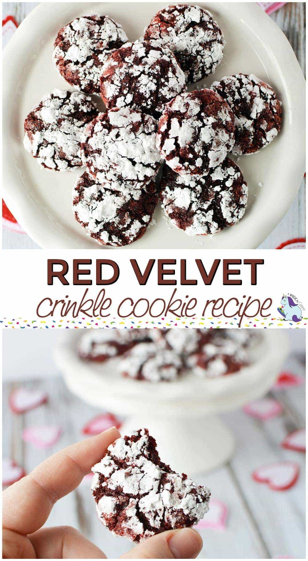 Red Velvet Crinkle Cookie Recipe - Only 4 Ingredients #valentinesday #cookies #recipes #yum #dessert #baking #redvelvet