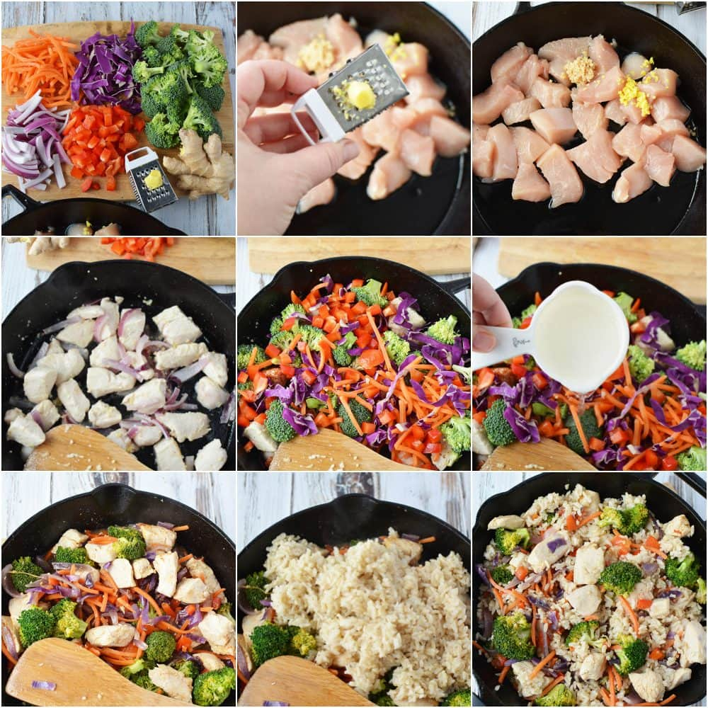 Ginger Chicken Recipe with Veggies and Rice