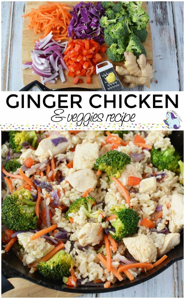 Ginger chicken and veggies skillet meal