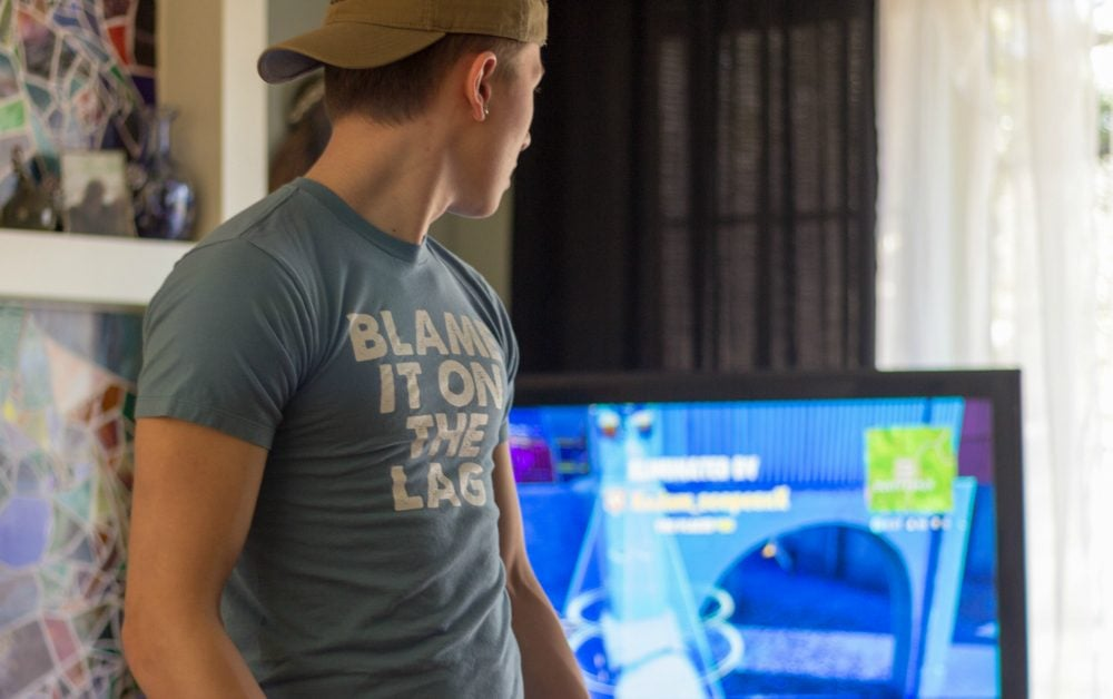 "Funny Gaming T-Shirts Based on Things Said in Fortnite ""Blame it on the lag"""