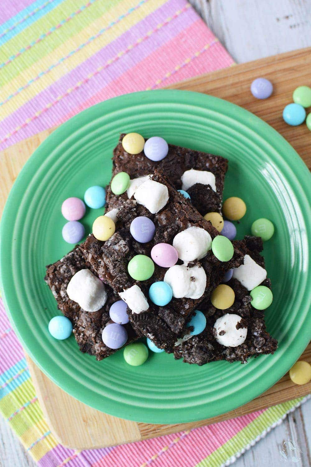 brownies with marshmallows and candy topping