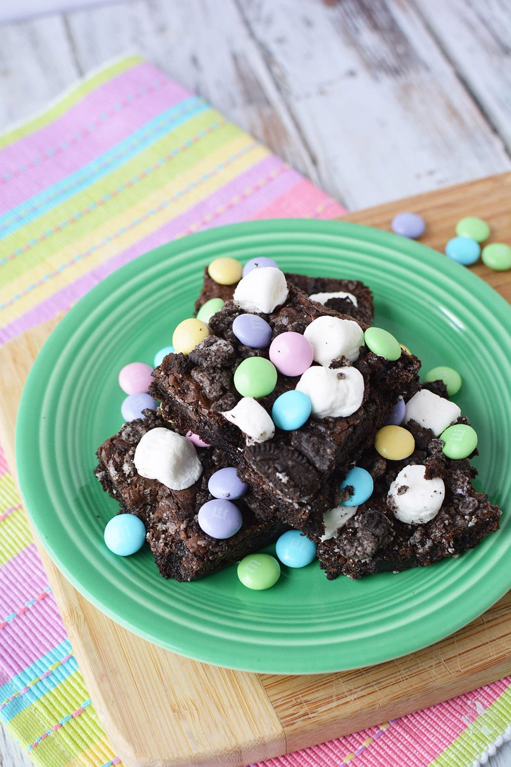 brownies with marshmallows and M&Ms candy