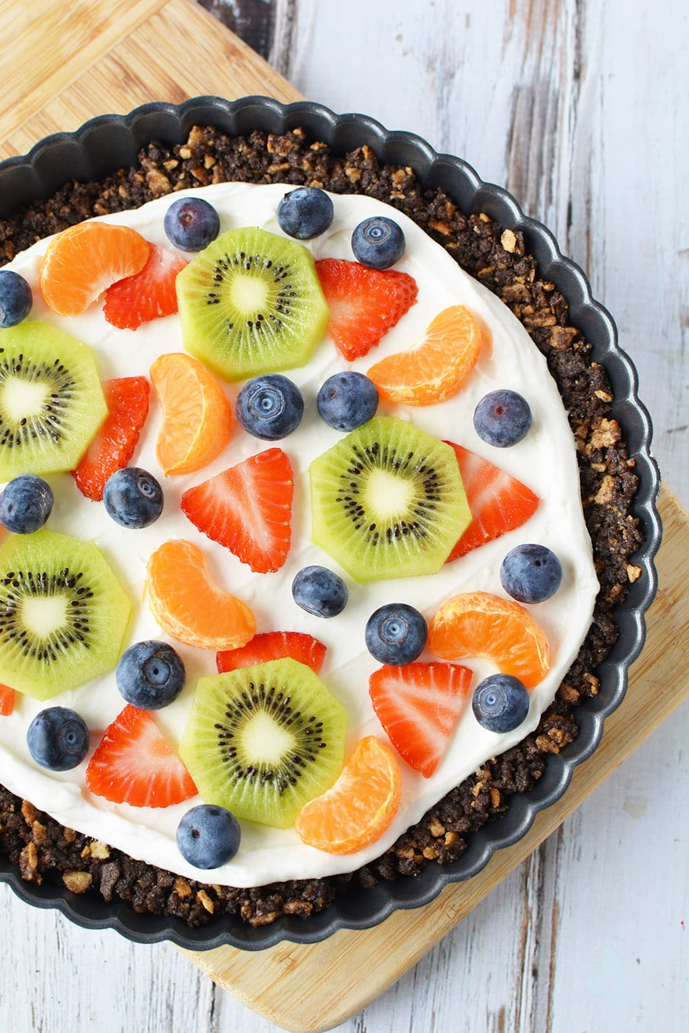 Fruit pizza with cone crust