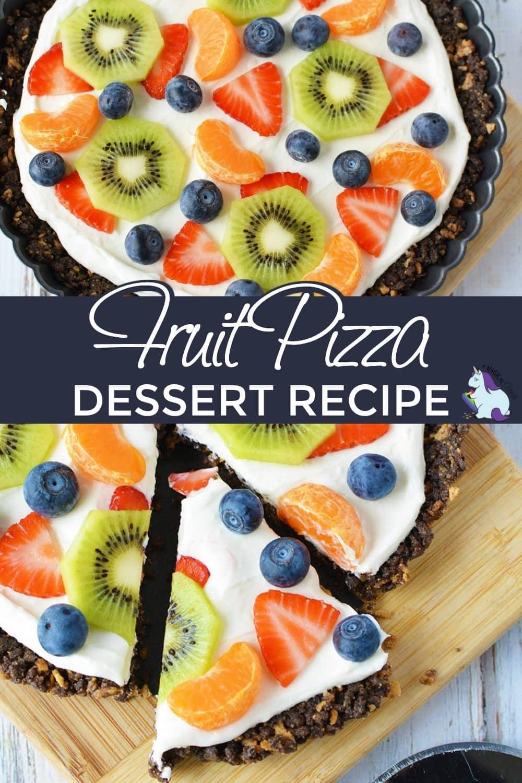Fruit tart or fruit pizza on a board sliced.
