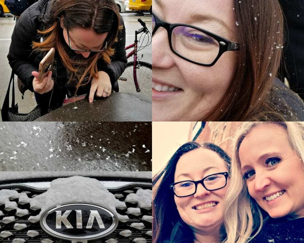 Shelley and Stephanie with a Kia