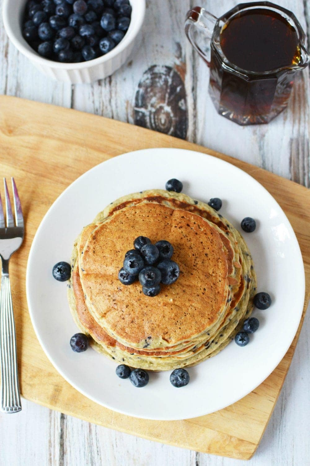 Pancakes made with protein powder - lemon blueberry