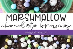 Marshmallow brownies on a plate and in a pan