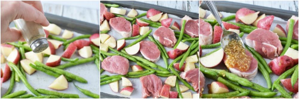 pork tenderloin sheet pan in process