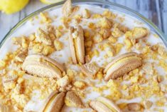 oreos sticking out of a lemon pudding trifle