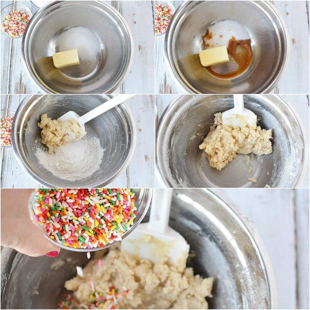 Rainbow Cookie Dough Dip Recipe in process