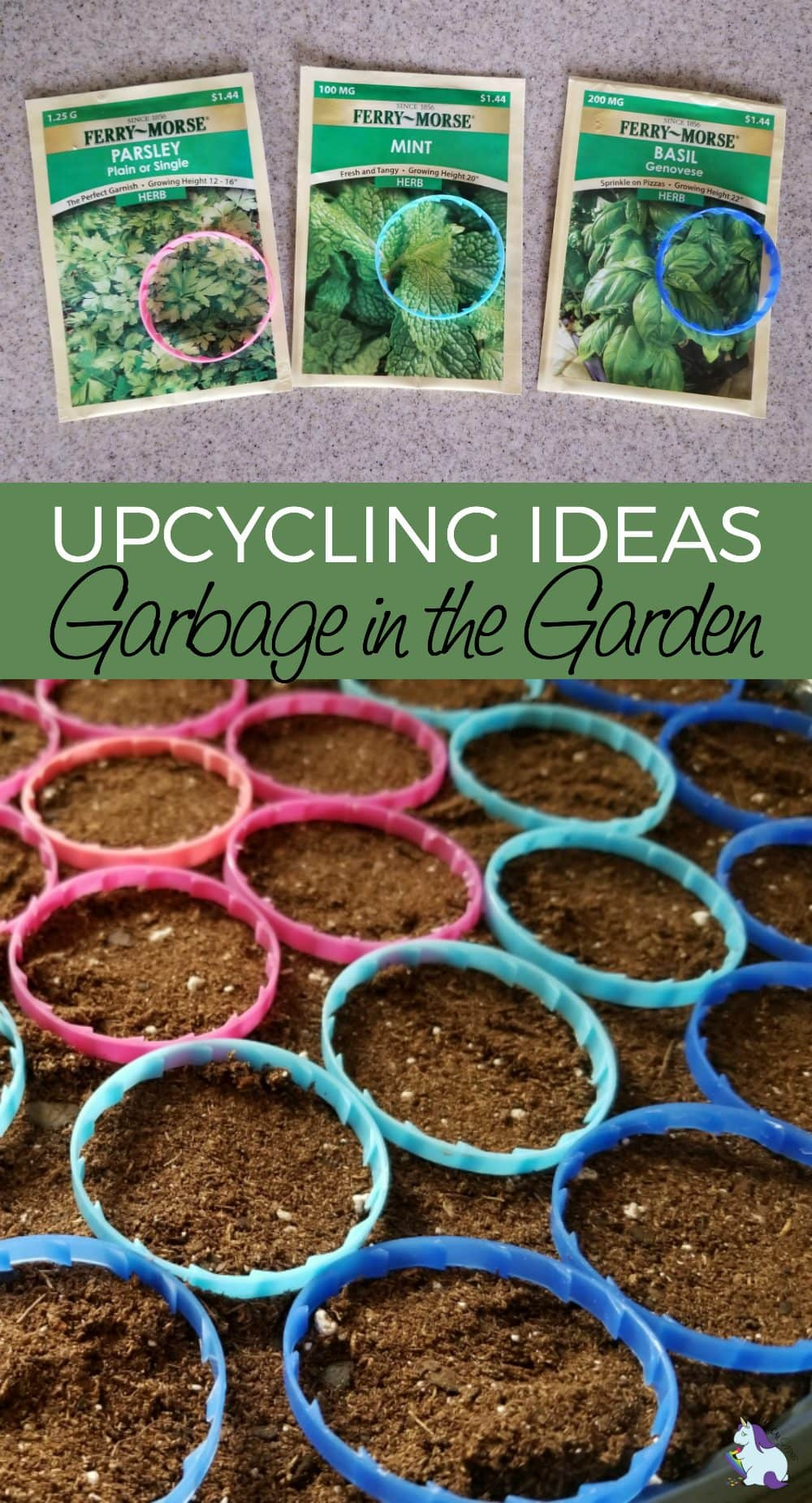 Upcycling Ideas – Garbage in the Garden - milk jug rings as seed markers
