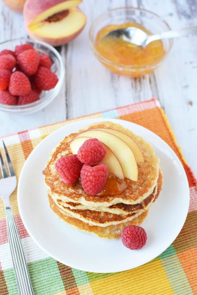 High Protein Recipes - Delightful Peach Raspberry Pancakes