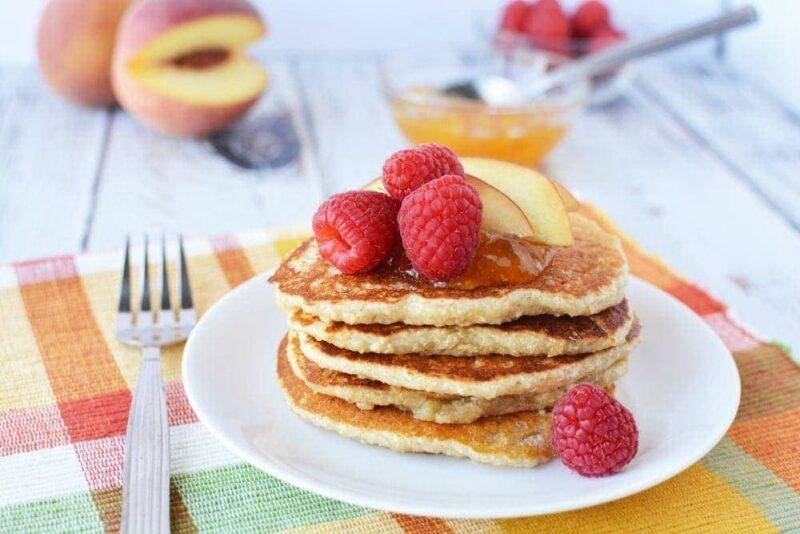 High Protein Recipes - Delightful Peach Raspberry Pancakes