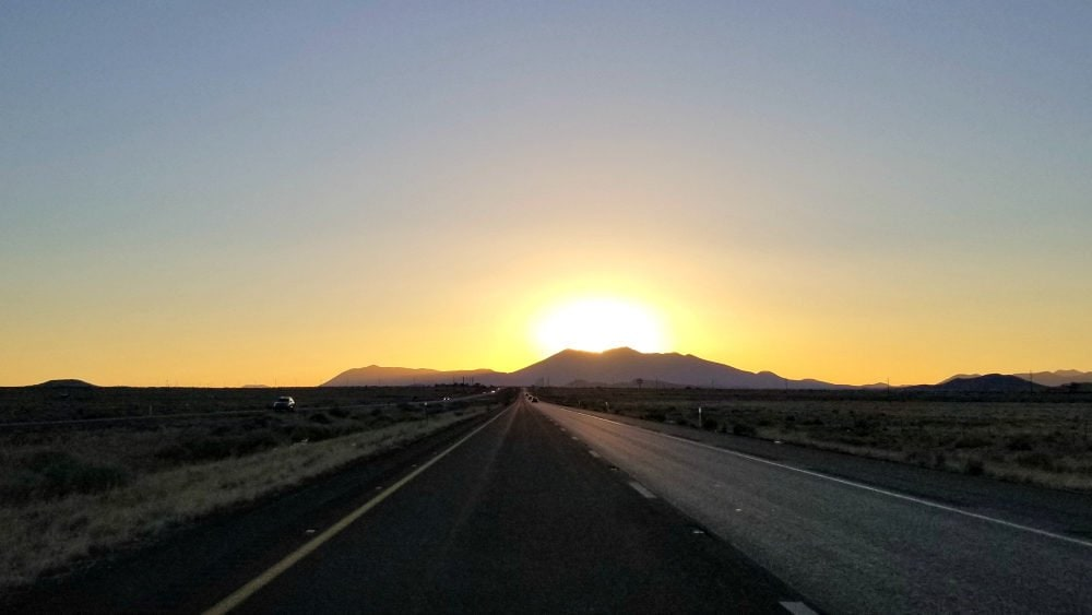 Driving to our hotel in Flagstaff, Arizona