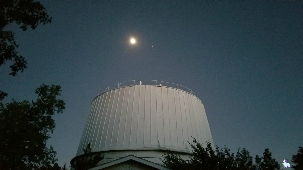 The moon and Venus at the Lowell Observatory in Flagstaff, Arizona
