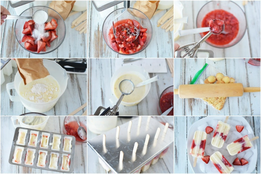 Strawberry Cheesecake Ice Pops in process