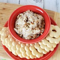 Overhead shot of butter pecan cookie dough dip in a red dish
