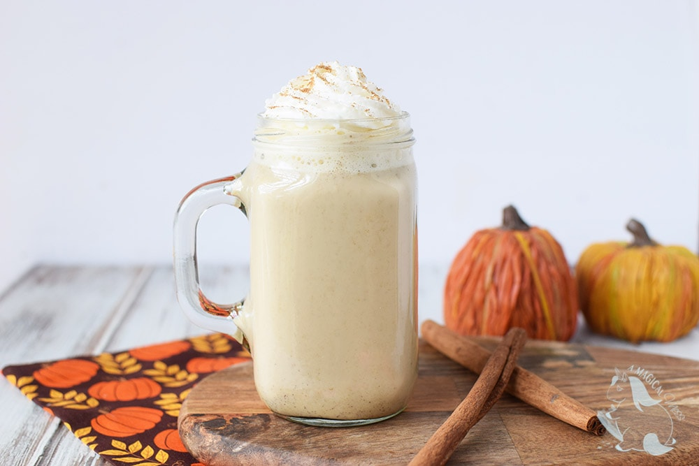 Pumpkin spice coffee drink with whipped cream