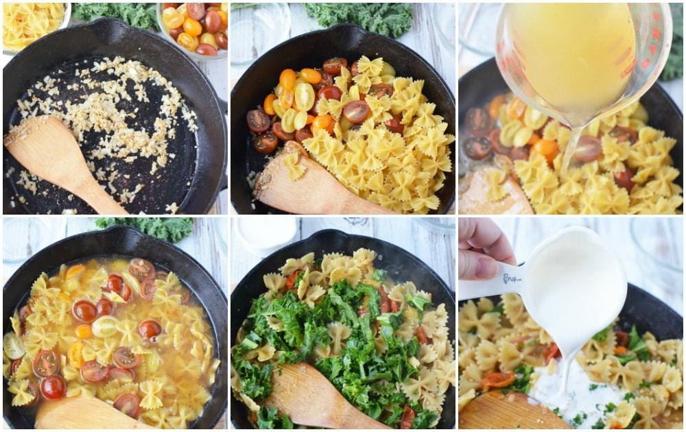 Kale pasta recipe in process