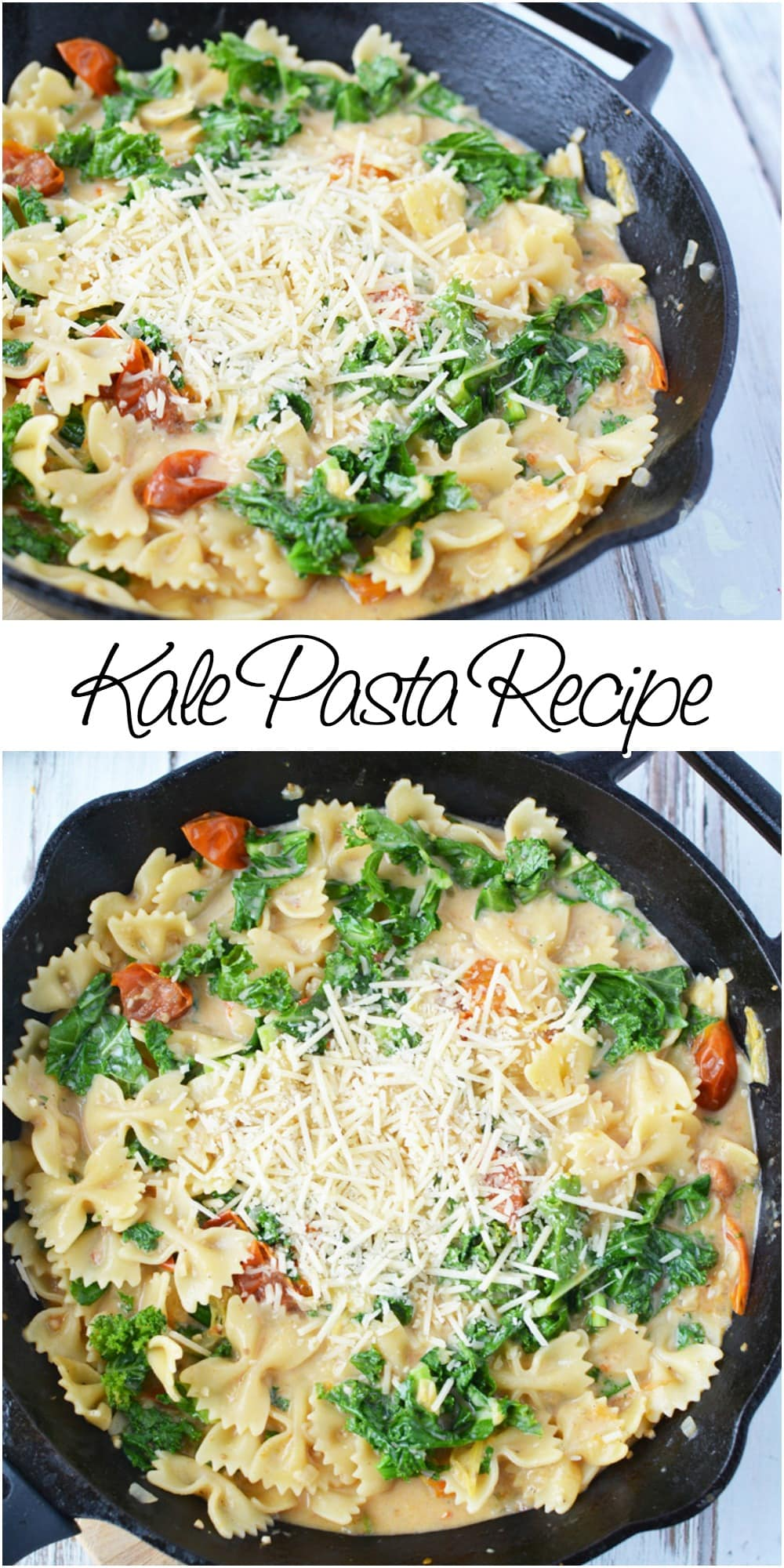 Kale pasta recipe - great for a meatless meal option #kale #pasta #skillet #meatlessmonday #meatless