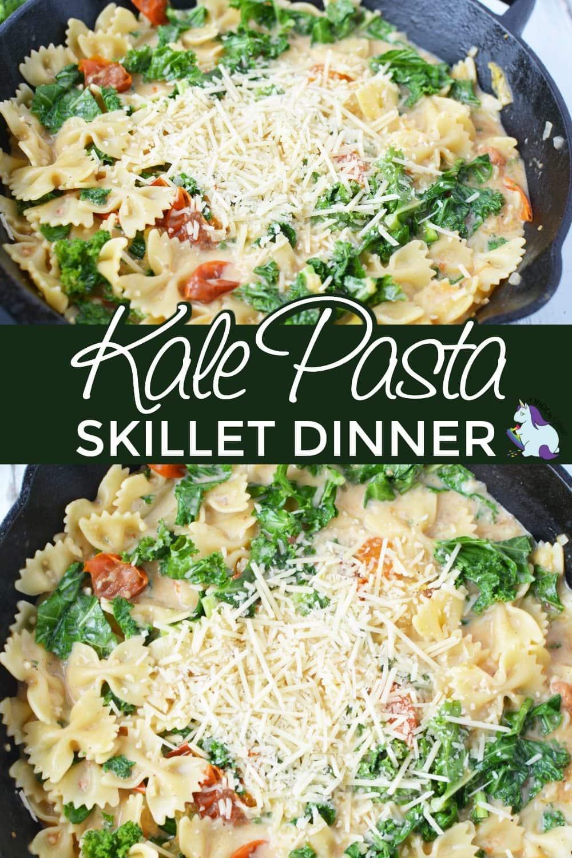 Kale pasta dinner in a skillet