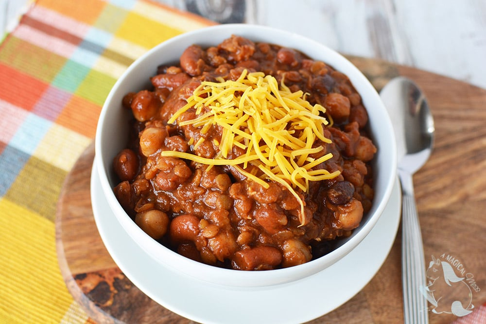 Three bean chili in the slow cooker
