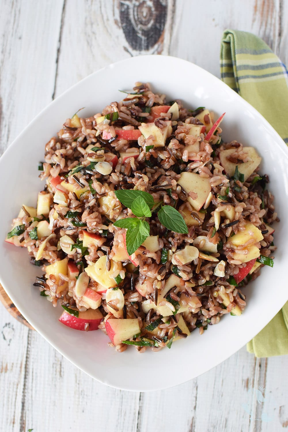 Wild rice salad with apples, honey, and mint