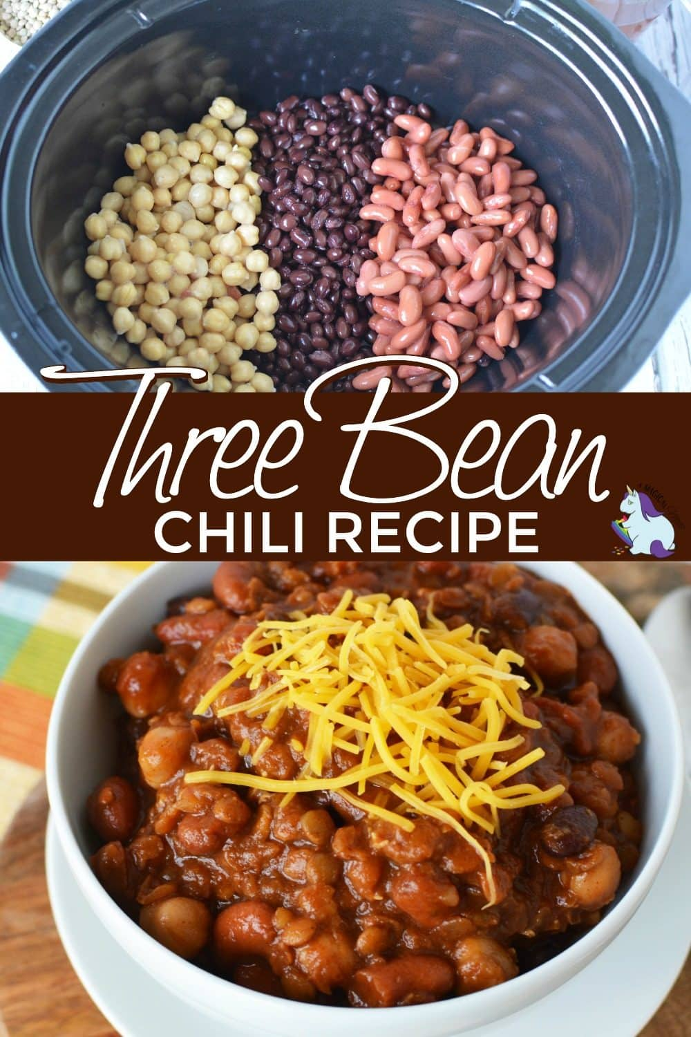 Bowls of chili with beans and topped with shredded cheddar.