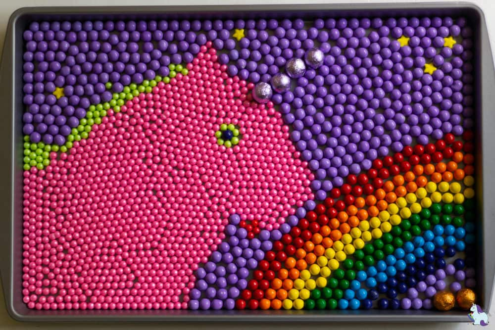 Unicorn food art with rainbow