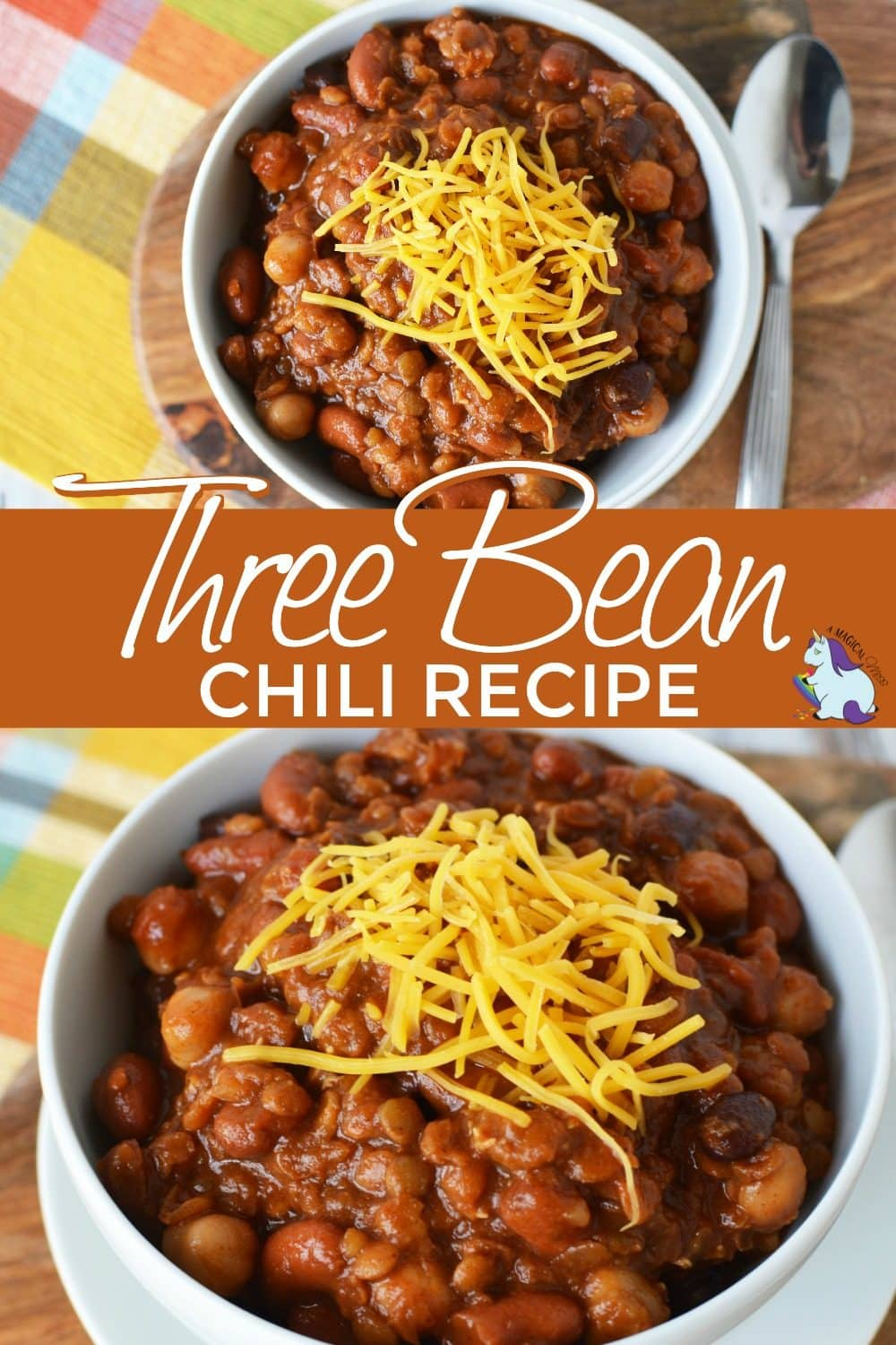 Three bean chili in a bowl topped with cheddar cheese