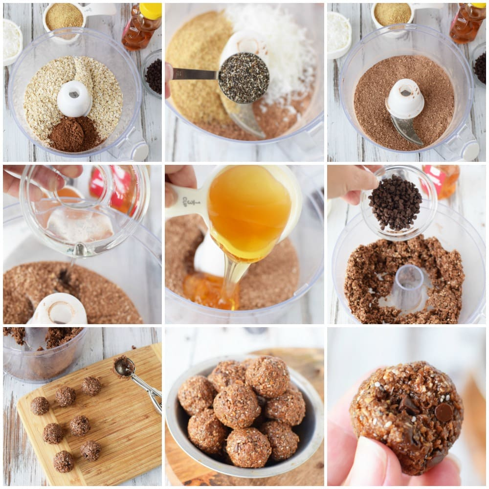 Chocolate energy balls in process steps