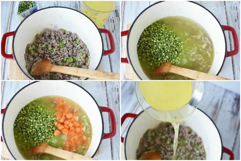 Split pea soup in process steps