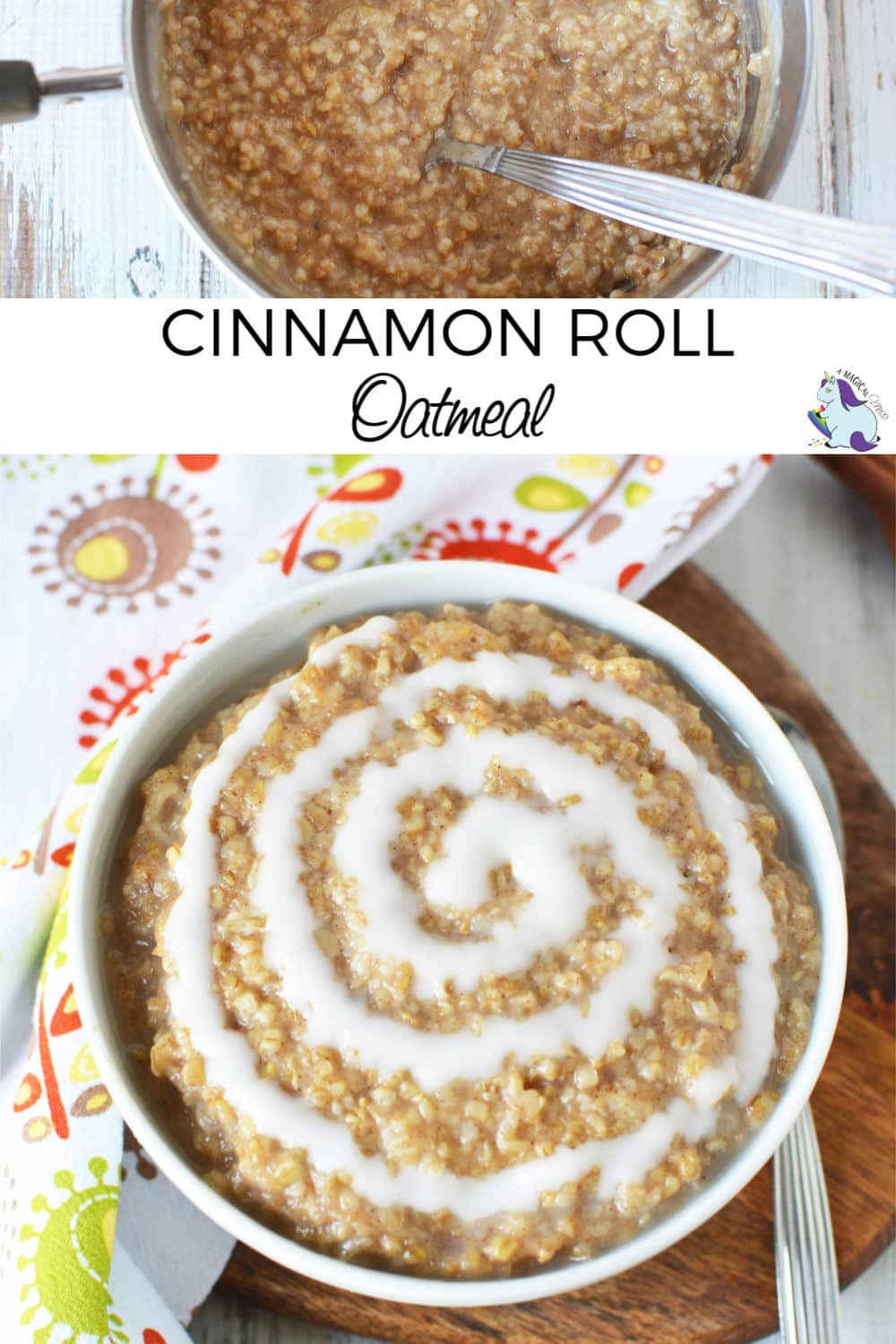 Overhead shot of cinnamon roll oatmeal with an icing swirl