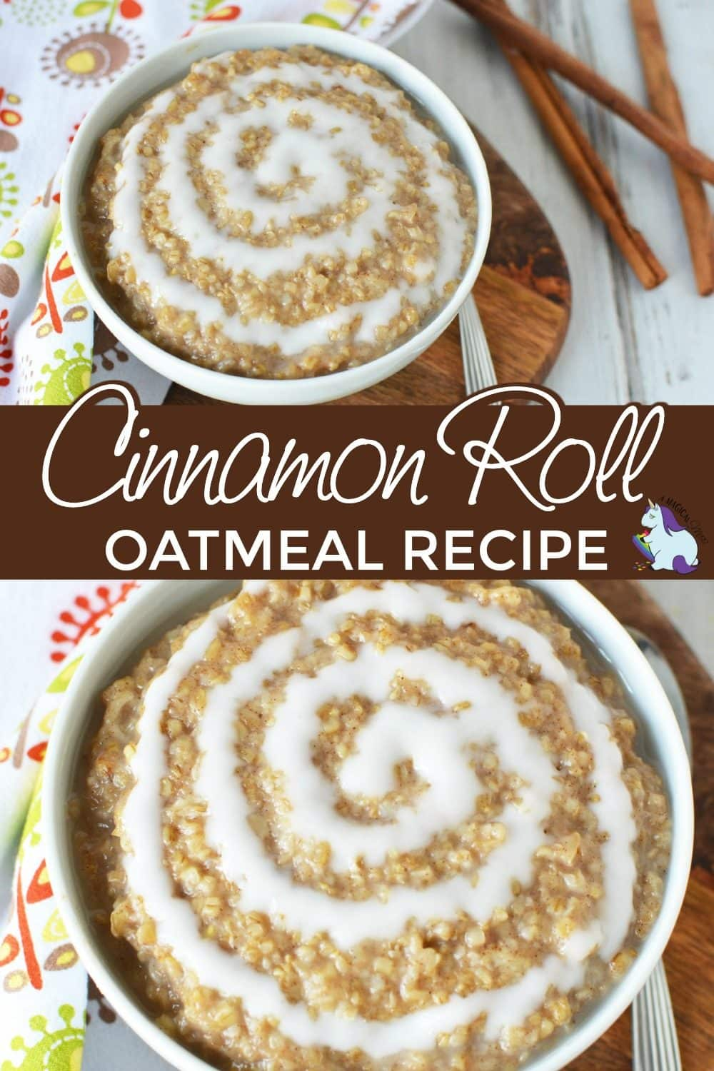 Bowls of cinnamon roll oat meal sitting on a table