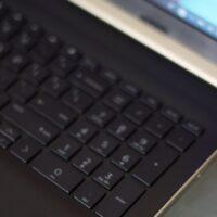 HP Laptop keyboard with Intel logo